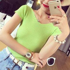 Coralie - Ribbed V-Neck Short Sleeve T-Shirt