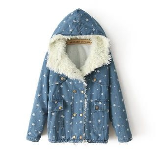 JVL - Fleece-Lined Hooded Dotted Denim Jacket