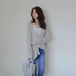 WITH IPUN - Long-Sleeve Loose-Fit Mélange Cardigan
