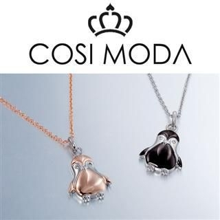 COSI MODA - Animal Charms Steel Necklace with Cubic Zirconia in Rose Gold & Black Color Plating