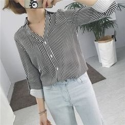 Eva Fashion - Pinstripe Long-Sleeve Blouse