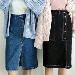 Hanme - 牛仔布鉛筆裙