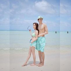 Blue Lagoon - Couple Matching Patterned Bikini / Swim Shorts