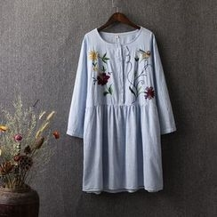 Blue Rose - Flower Embroidered Striped Long Sleeve Dress