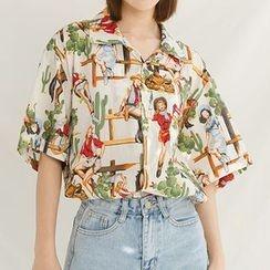 Heynew - Print Short-Sleeve Blouse