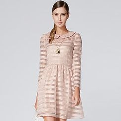 O.SA - Crochet-Collar Striped Dress