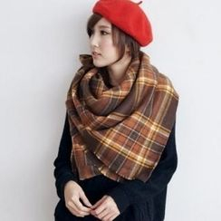 BAIMOMO - Fringed Plaid Scarf