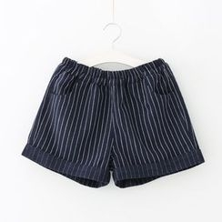 Meimei - Pinstriped Elastic Waist Shorts