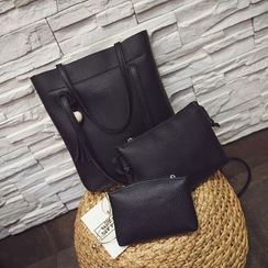 Diamante - Set: Faux Leather Tote + Crossbody Bag + Zip Pouch
