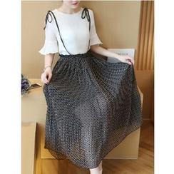 Dowisi - Set: Short Sleeve Chiffon Top + Pleated Midi Chiffon Jumper Skirt