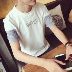 Mitouomo - Letter Embroidered Color Panel Short Sleeve T-Shirt