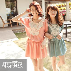 Tokyo Fashion - Short-Sleeve Lace-Bib Dress