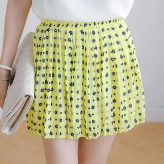 Tokyo Fashion - Accordion-Pleat Patterned Chiffon Skirt