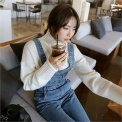 QNIGIRLS - Turtle-Neck Plain Sweater