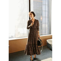 ssongbyssong - Wrap-Front Pattern Long Dress