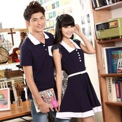 NoonSun - Couple Matching Contrast Trim Short Sleeve Polo Shirt / Collared Sleeveless Dress