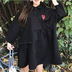 Dute - Heart Embroidered Collared Long Sleeve Dress
