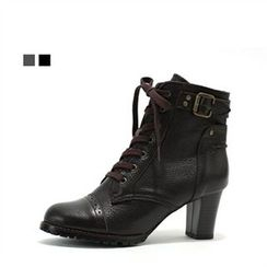 MODELSIS - Genuine Leather Lace-Up Boots
