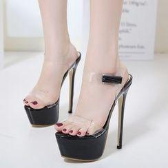 Monde - Ankle Strap High-heel Sandals