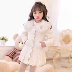 Candy Rain - Kids Furry Collar Lace Panel Coatdress