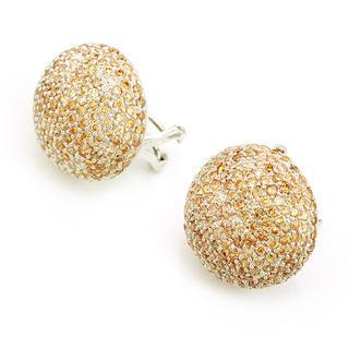 MBLife.com - Half Dome Pave Champagne CZ 925 Sterling Silver Stud Earrings