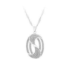 BELEC - 925 Sterling Silver Oval Pendant with White Cubic Zircon and Necklace
