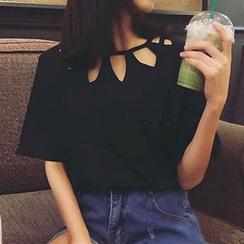 CosmoCorner - 鏤空領口短袖T恤