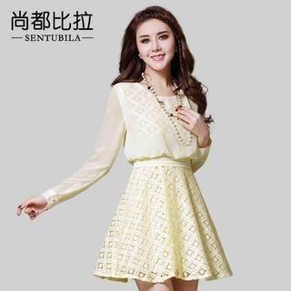 Sentubila - Geometric Lace Chiffon Dress