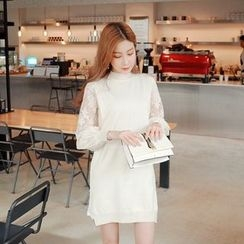 Cherryville - Mock-Neck Lace-Sleeve Knit Dress