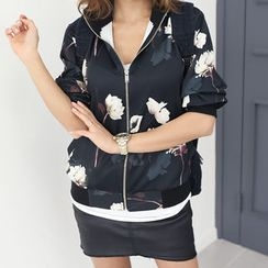 DANI LOVE - Floral-Pattern Flight Jacket