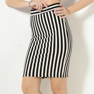 YesStyle Z - Slit-Back Striped Pencil Skirt
