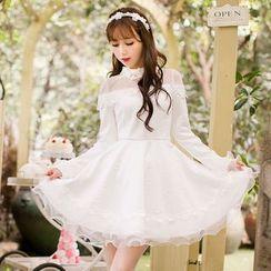 Candy Rain - Mesh Panel Bell-Sleeve A-Line Dress