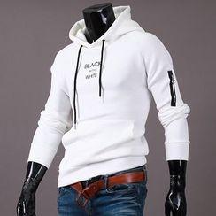 Seoul Homme - Zip-Trim Logo-Front Hoodie