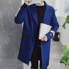 Bay Go Mall - Patch Embroidered Notch Lapel Long Coat