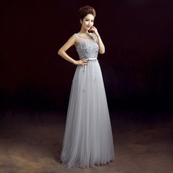 ZAKSKI - Flower Applique Tulle Evening Gown