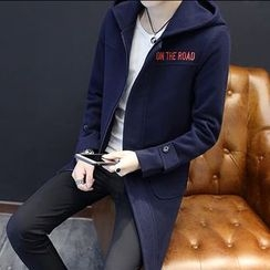 Bay Go Mall - Letter Embroidered Hooded Long Coat