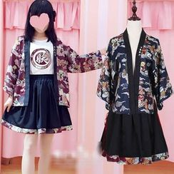 GOGO Girl - Printed Kimono Jacket / Short-Sleeve T-Shirt / A-line Skirt