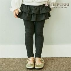 LILIPURRI - Girls Inset Ruffle-Tiered Skirt Leggings
