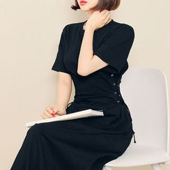 HOTPING - Round-Neck Lace-Up Long Dress