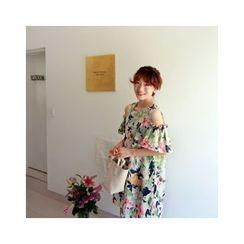 LEELIN - Off-Shoulder Floral Pattern Dress
