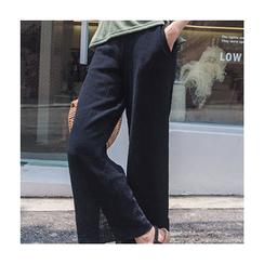 migunstyle - Band-Waist Wide-Leg Pants