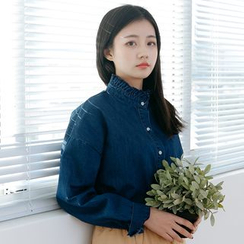 Forest Girl - 皱摺边牛仔布衬衫