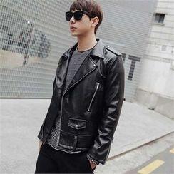STYLEMAN - Faux-Leather Biker Jacket