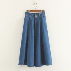 Mushi - A-Line Maxi Denim Skirt
