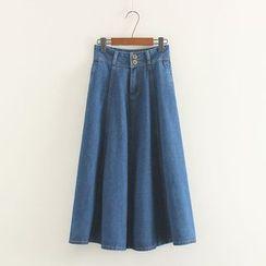 Mushi - A-Line Maxi Denim Skirt