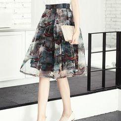 Romantica - Printed Pleated Midi Skirt