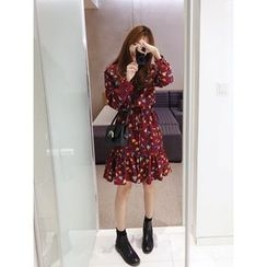 hellopeco - Ruffle-Hem Leaf-Patterned Dress