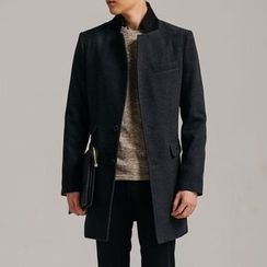 DANGOON - Contrast-Collar Single-Breasted Coat