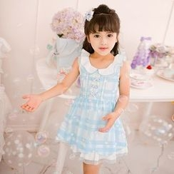 Candy Rain - Kids Frill Collar Plaid Sleeveless Dress