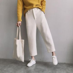 Bloombloom - Plain Cropped Woolen Pants